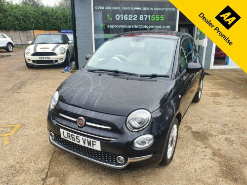Fiat 500  1.2 LOUNGE 3d 69 BHP IN BLACK WITH 45,000 MILES AN